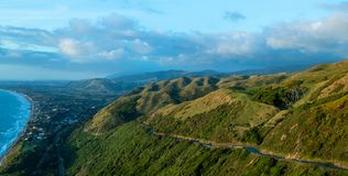 Kāpiti Coast Hill Road. Kāpiti Coast hills with a road going up them royalty free stock photography